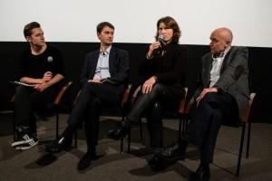 """Spalį R. Puišytė dalyvavo """"Nepatogaus kino"""" diskusijoje apie Holokaustą švietime. I. Ivošakitės nuotr."""