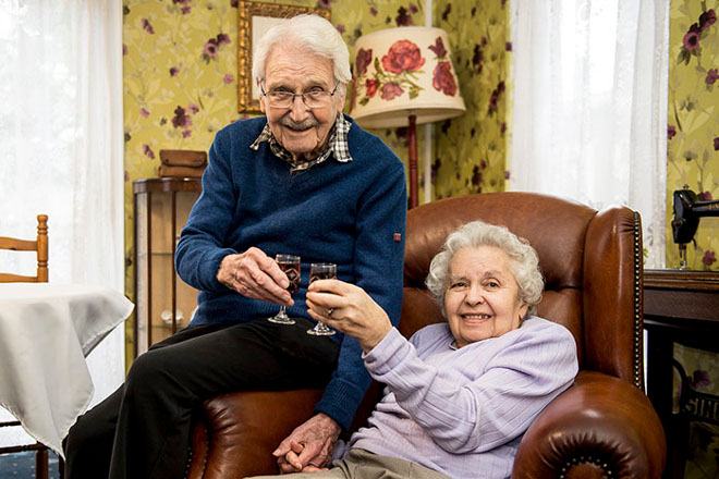 John and Edith MacKay, 96 an 94 celebrating their 91st Valentines day together. IN PIC................. (c) Wullie Marr/HPR For pic details, contact Wullie Marr........... 07989359845