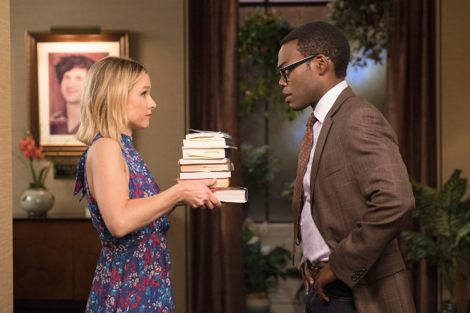 "THE GOOD PLACE -- ""Existential Crisis"" Episode 205 -- Pictured: (l-r) Kristen Bell as Eleanor, William Jackson Harper as Chidi -- (Photo by: Colleen Hayes/NBC)"