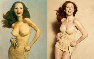 """Johno Kareno paveikslas """"Paralyžiuota"""" (1997 metai). Džulian dėvi mados namų """"Bottega Veneta"""" korsetą."""