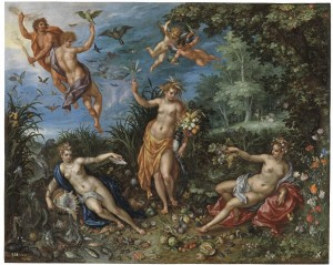 "Jan Brueghel el Viejo ir Hendrick de Clerck, ""Abundance and the Four Elements"", 1606 m.,"
