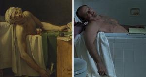 Jacques-Louis David, La mort de Marat (1793) ir Alexander Payne, About Schmidt (2002)