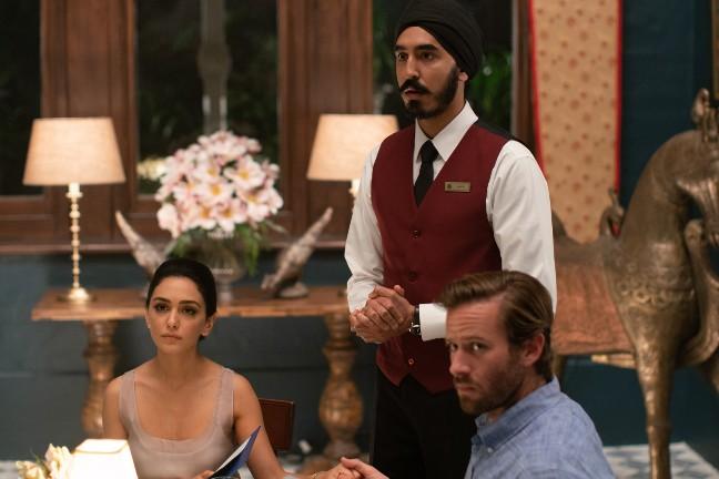 "(From L-R) Nazanin Boniadi as ""Zahra"", Dev Patel as ""Arjun"" and Armie Hammer as ""David in HOTEL MUMBAI"