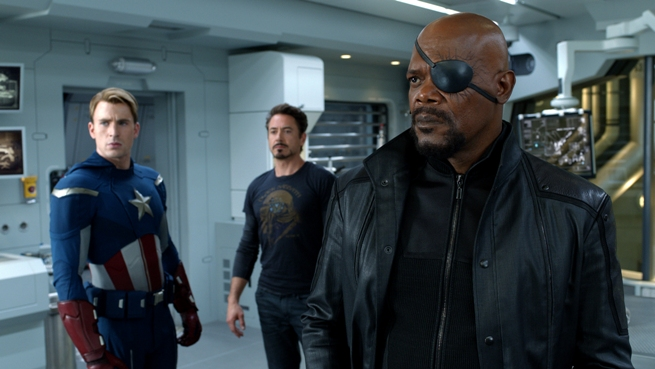 """Marvel's The Avengers"" L to R: Captain America (Chris Evans), Tony Stark (Robert Downey Jr.) and Nick Fury (Samuel L. Jackson) Ph: Film Frame © 2011 MVLFFLLC. TM & © 2011 Marvel. All Rights Reserved."