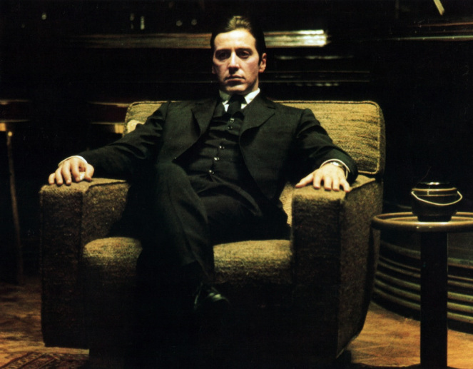 Al Pacino sits in a chair in a scene from the film 'The Godfather: Part II', 1974. (Photo by Paramount/Getty Images)